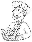 Baker with bread basket, contour