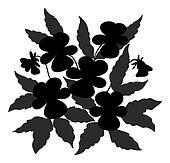 Flowers pansies contour