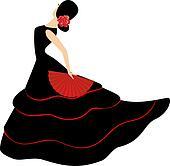 Flamenco dancer. Spanish girl with fan
