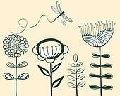 seamless vintage flower pattern line art