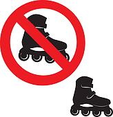 Prohibited Sign. Roller skate icon.