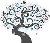 Winter tree background. vector illustration
