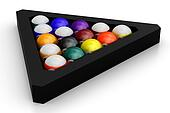 Colorful pool balls over white