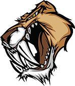 Cougar Saber Tooth Cat Mascot Head
