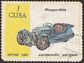 CUBA - CIRCA 1984: A post stamp printed in Cuba shows  Car Morgan, 1909, series . Circa 1988