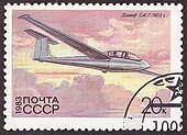 USSR - CIRCA 1983: A stamp printed in the USSR shows flying glider SA-7 .Circa 1983