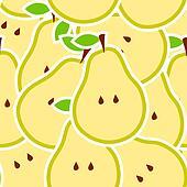 Pears vector illustration seamless pattern