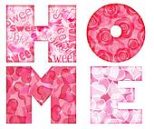 Home Alphabet Letters with Floral and Hearts