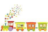 Train with happy children