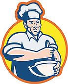 Cook Chef Baker With Mixing Bowl Retro