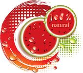 vector abstract background with fresh watermelon