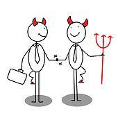 Businessman Devil Shaking Hands