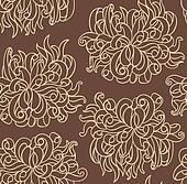Seamless line vector with chrysanthemum flowers