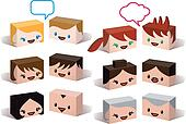 avatar heads, vector people