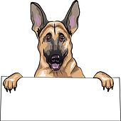vector color sketch dog German shepherd breed smile