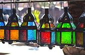 Traditional glass and metal lamps
