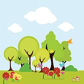 trees and floral background