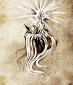 Sketch of tatto art, warlock, sorcerer, halloween concept