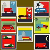Set of retro Van and Lorry vintage labels