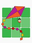 A boy with a kite, vector illustration
