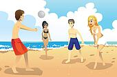 Young people playing volleyball