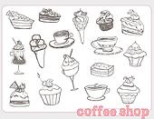 sweet dessert coffee doodle