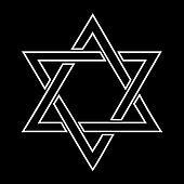 White jewish star design on black background -  illustration