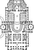 Plan of theater of opera, Paris, vintage engraving.
