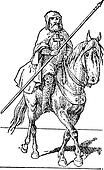 Templar on horse, vintage engraving.