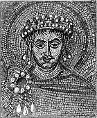 Justinian mosaic, vintage engraving.