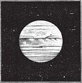 Aspect of Jupiter in December 1885 with a satellite passing the disc, vintage engraving.
