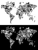 Social media network icons in World map figure