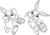 Bunny Hiding Eggs coloring page