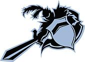 Black Knight Warrior Mascot with Sword and Shield Vector Graphic