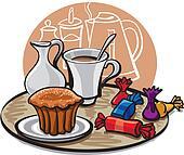 cupcake, candy and coffee