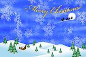 Stock photo merry christmas with santa claus and reindeer