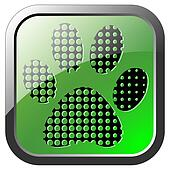 Animal footprint icon on green butt