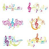 Set of Colorful Musical Notes Illustration - in vector
