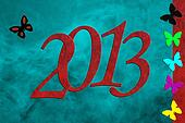 New Year 2013, PF card, butterfly
