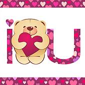 teddy bear with heart and i love you text on white background with hearts border vector