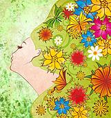 spring flowers fairy face on green grunge background with different colorful flowers and butterfly