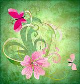 spring butterfly and pink flower on grunge green background easter idea illustration