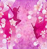 three urban modern dancing women silhuettes on the red or pink grunge background