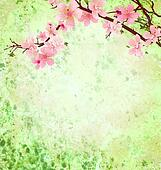 pink cherry blossom branch on green grunge background easter illustration idea