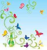 green spring fragrance bottle with flourishes and butterfly
