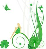 St. Patrick Day vector with fairy, butterflies and clover