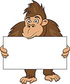 gorilla with blank sign