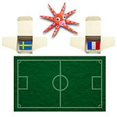 Squid Football with the flag Sweden and France