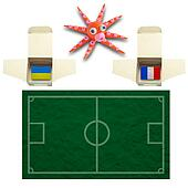 Squid Football with the flag Ukraine and France