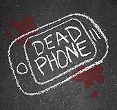 Dead Phone Chalk Outline Pavement Damaged Discarded